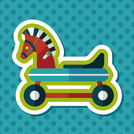 old cowboy: horse toy car flat icon with long shadow