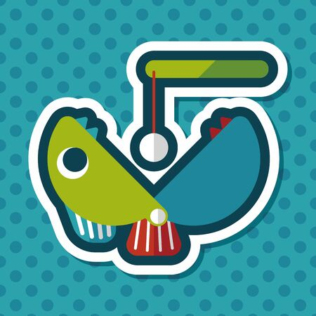 angling rod: Fishing toy flat icon with long shadow