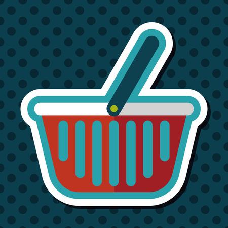 shopping basket: shopping basket flat icon with long shadow Illustration