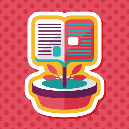 grammatical: book tree flat icon with long shadow