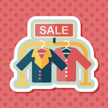 outwear: shopping clothes flat icon with long shadow