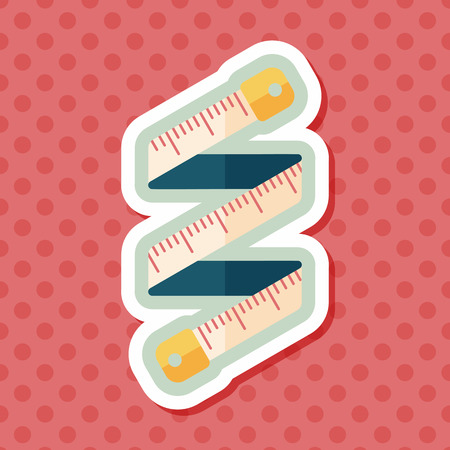height measure: measuring tape flat icon with long shadow