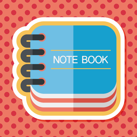 periodicals: notebook flat icon with long shadow Illustration