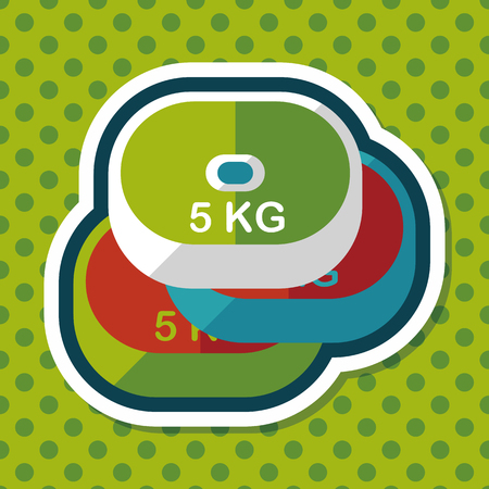 weightlifting: weightlifting plates flat icon with long shadow