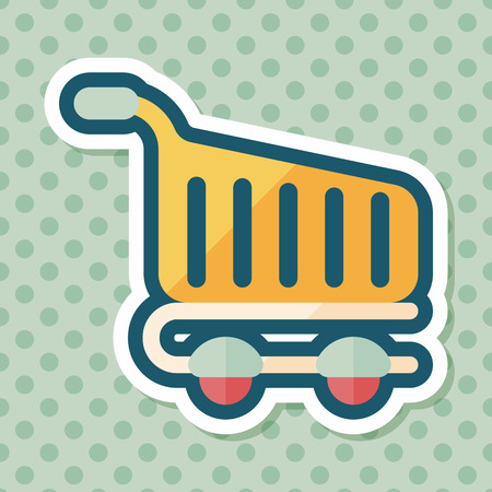 shopping cart icon: shopping cart flat icon with long shadow Illustration