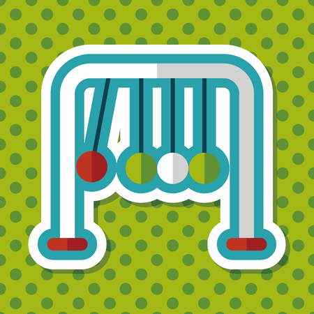newtons cradle: Newtons Cradle flat icon with long shadow