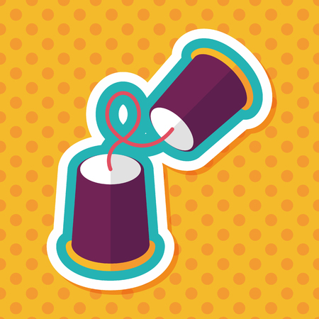 listening: paper cups phone flat icon with long shadow Illustration