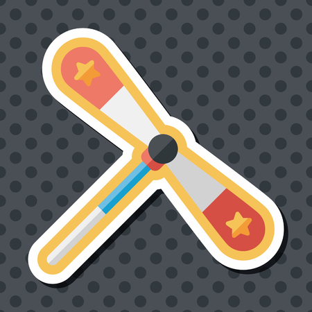 blades propeller toy flat icon with long shadow
