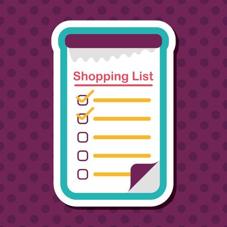 liste d'achats icône plat avec ombre