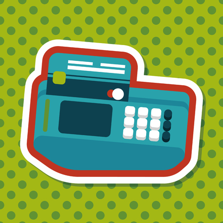 cardreader: Shopping credit card machine flat icon with long shadow