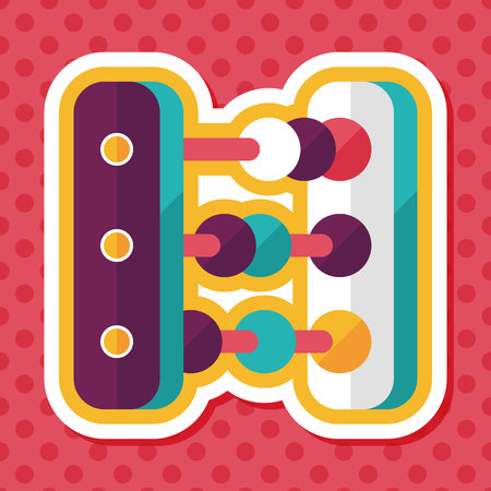 subtract: abacus calculation flat icon with long shadow Illustration