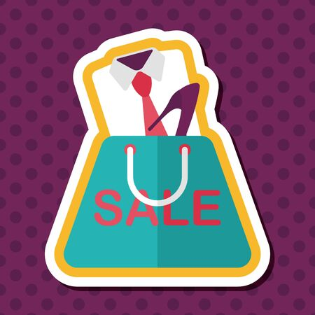 boutique display: shopping suit flat icon with long shadow Illustration