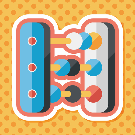 abacus: abacus calculation flat icon with long shadow Illustration