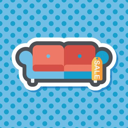 armchair shopping: shopping sale sofa flat icon with long shadow