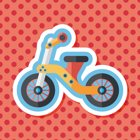 tricycle: Kids Tricycle flat icon with long shadow