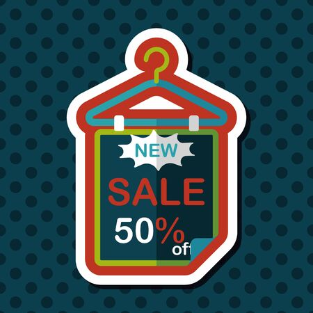 cheaper: shopping sale sign flag flat icon with long shadow