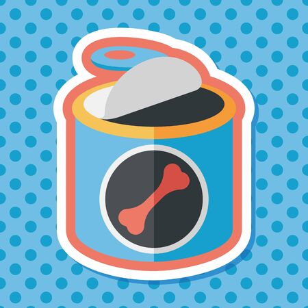 food can: Pet dog food can flat icon with long shadow Illustration
