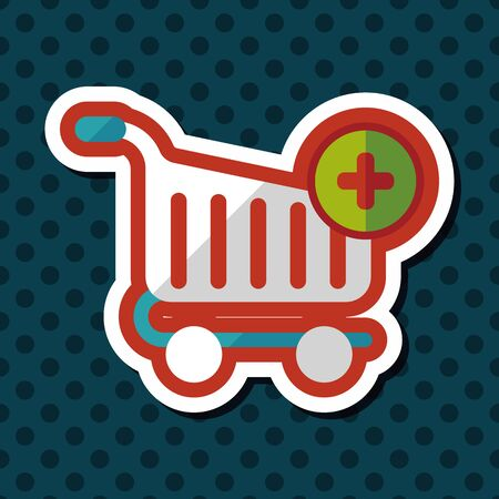 product cart: shopping cart flat icon with long shadow Illustration