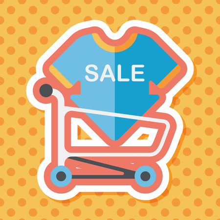 cheaper: shopping sale sign board and cart flat icon with long shadow