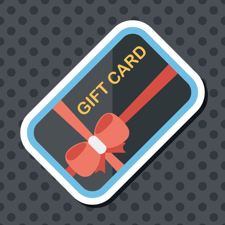 cutoff: shopping gift card flat icon with long shadow