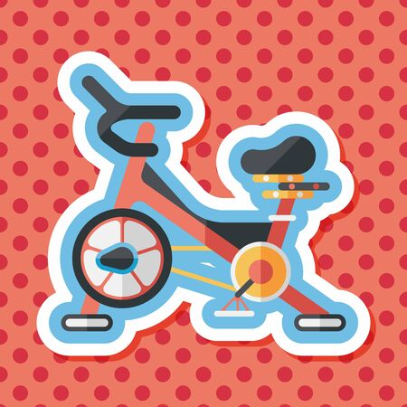 hometrainer: Exercise bike flat icon with long shadow