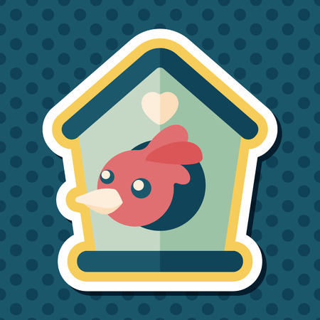bird shadow: Pet bird house flat icon with long shadow Illustration