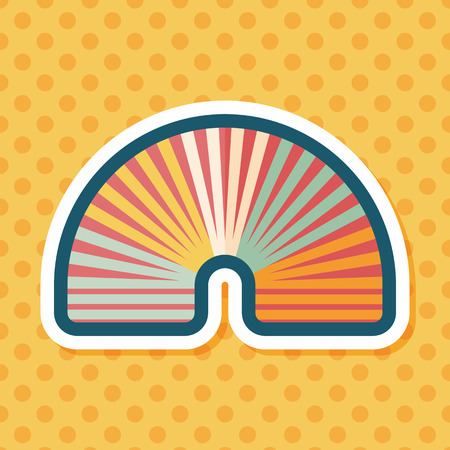 coil spring: Rainbow spiral flat icon with long shadow