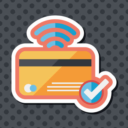 bank statement: shopping credit card flat icon with long shadow