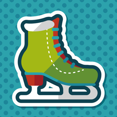 ice skate: ice skate flat icon with long shadow