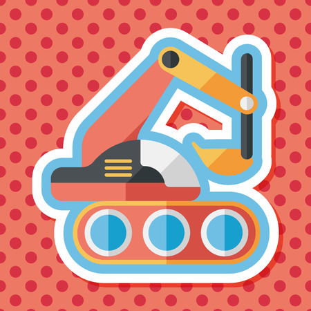 mine site: Excavator digger flat icon with long shadow