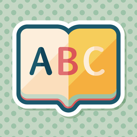 thesaurus: Dictionary book flat icon with long shadow