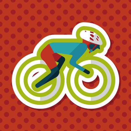 cycling mountain: cycling flat icon with long shadow