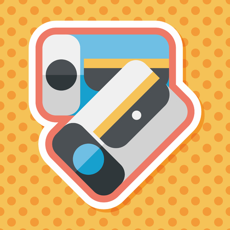 shavings: Pencil sharpener flat icon with long shadow Illustration
