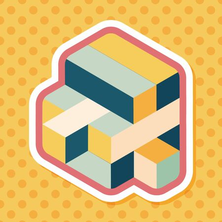 puzzling: toy cube flat icon with long shadow