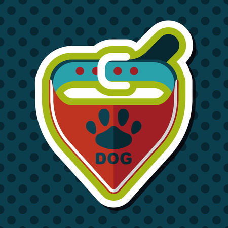 buckles: Pet dog chains flat icon with long shadow