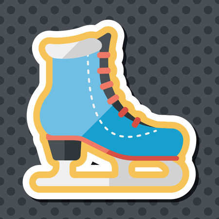 ice skates: ice skate flat icon with long shadow