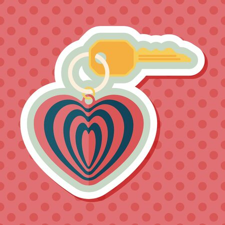 keychain: Valentines Day lover keychain flat icon with long shadow,eps10 Illustration