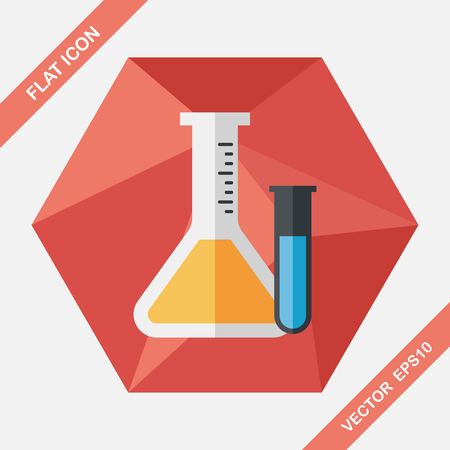 drug discovery: test tube flat icon with long shadow,eps10 Illustration