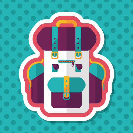 satchel: backpack flat icon with long shadow