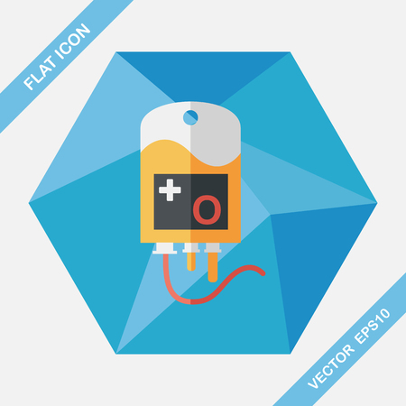 intravenous drip: IV bag flat icon with long shadow, eps10