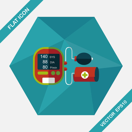 blood pressure bulb: sphygmomanometer blood pressure flat icon with long shadow,eps10