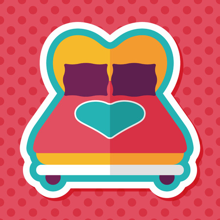 day bed: Valentines Day lover bed flat icon with long shadow,eps10