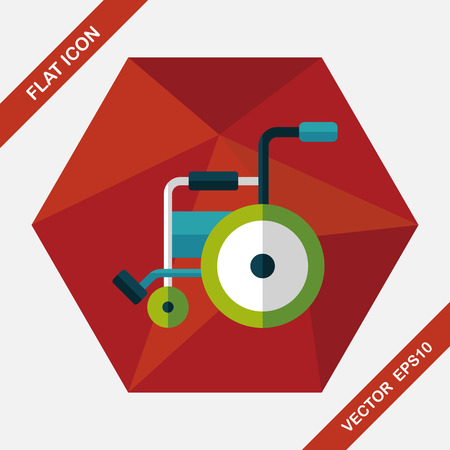 paraplegico: Icono plana con silla de ruedas con una larga sombra, eps10 Vectores