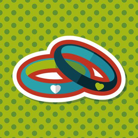 bracelet: Valentines Day couple bracelet flat icon with long shadow,eps10