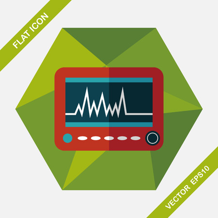 monitor in the ICU flat icon with long shadow,eps10