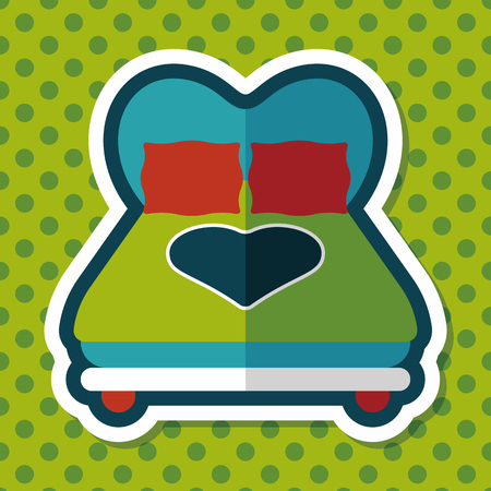 couple sleeping: Valentines Day lover bed flat icon with long shadow,eps10