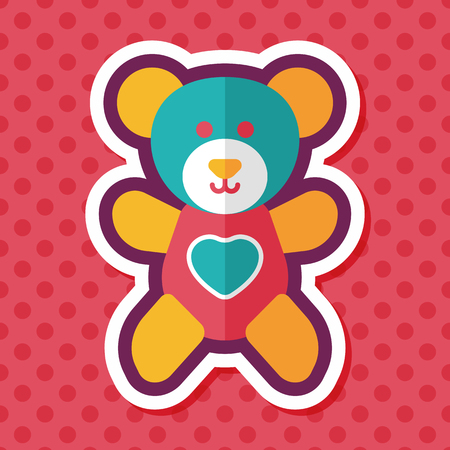 teddy bear love: Valentines day present bear flat icon with long shadow,eps10
