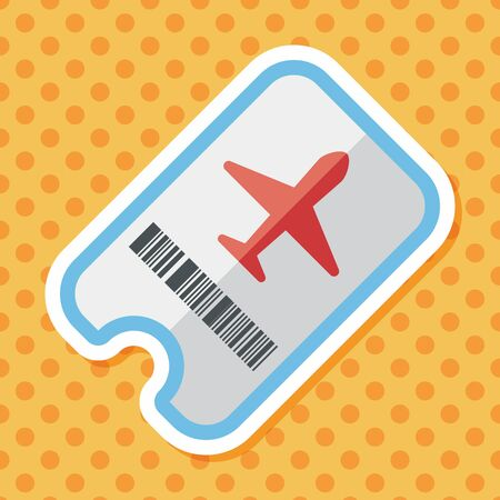 transportation icons: Air ticket flat icon with long shadow