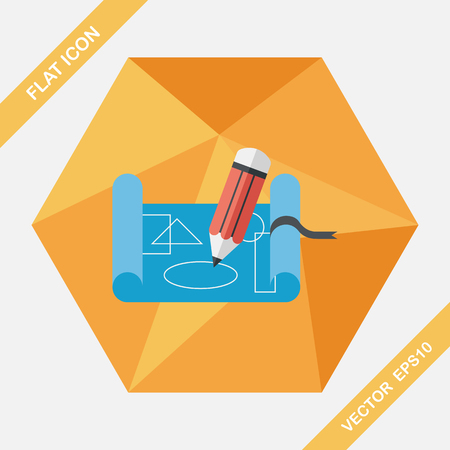 scribbling: blueprint flat icon with long shadow,eps10