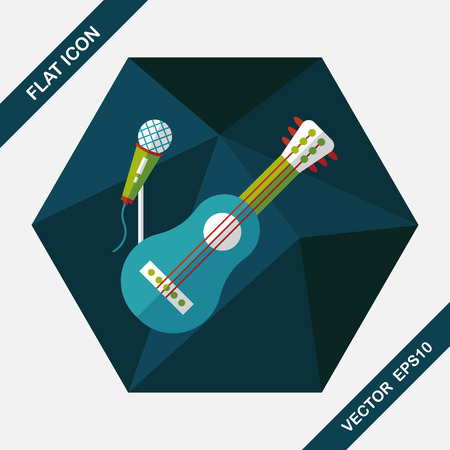 chord: guitar flat icon with long shadow,eps10